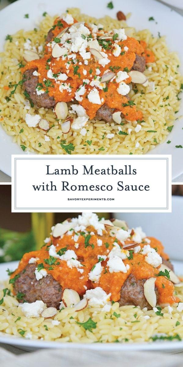 lamb meatballs with romesco for pinterest