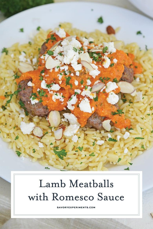 closeup of lamb meatballs with sauce