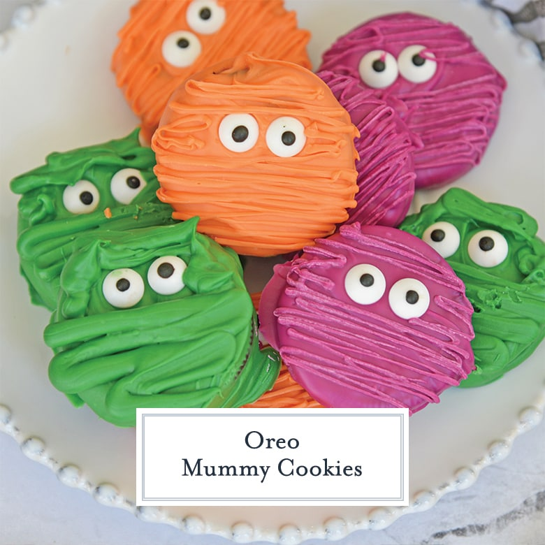 close up of colored mummy cookies