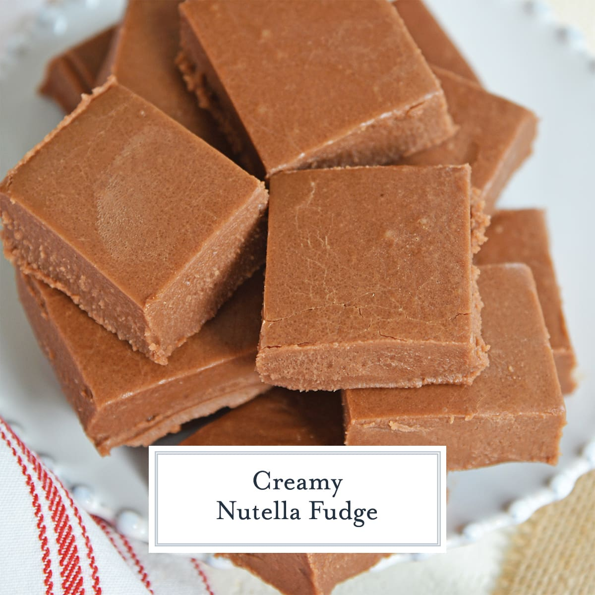pile of smooth Nutella fudge on a white plate