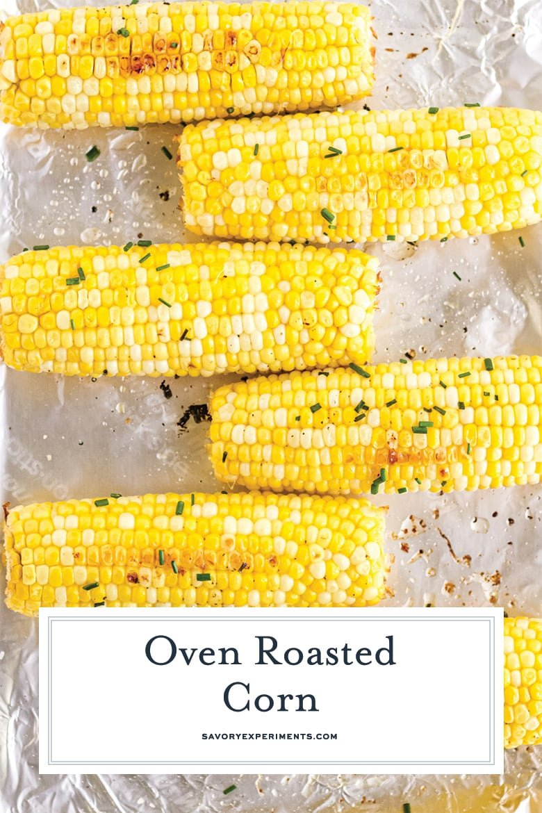 close up of oven corn on the cob for pinterest