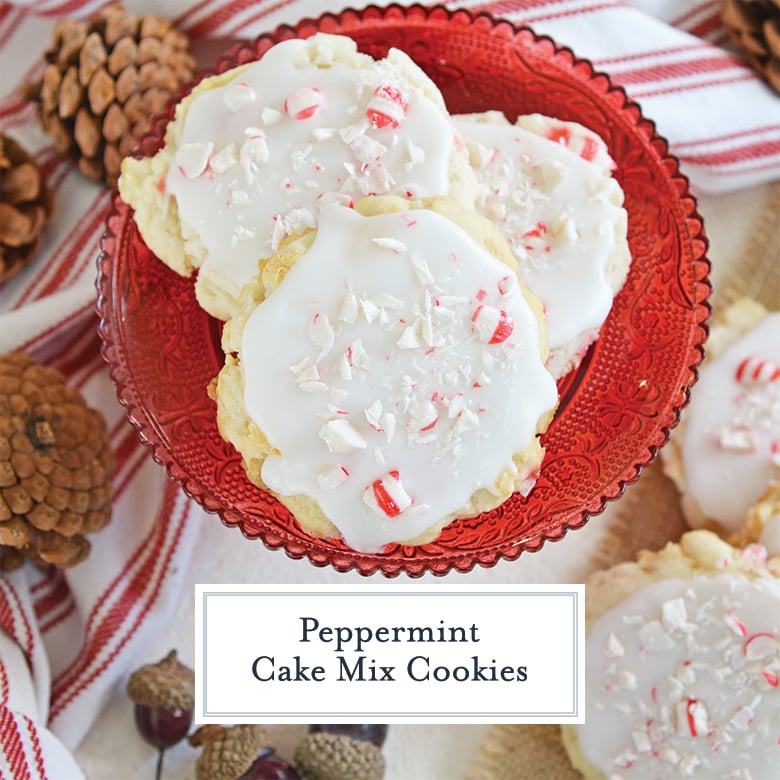 three peppermint cake mix cookie on a red glass dish