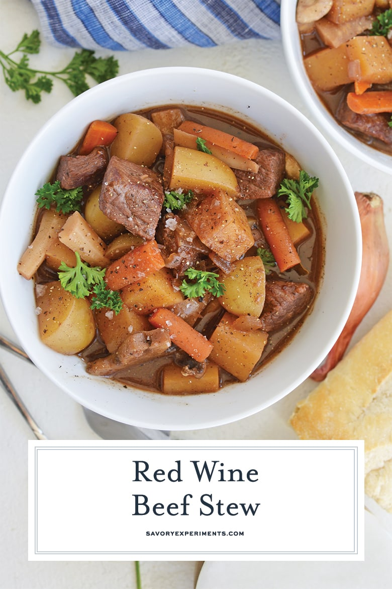 close up of red wine beef stew for pinterest