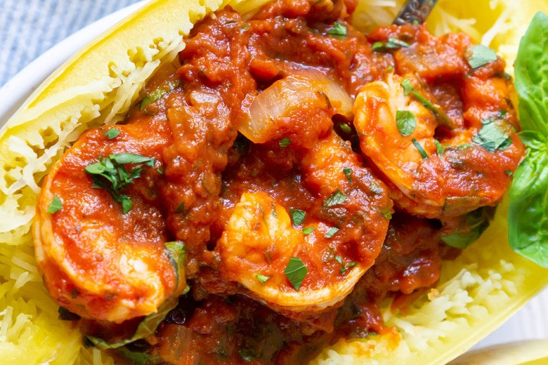 close up of shrimp marinara in spaghetti squash