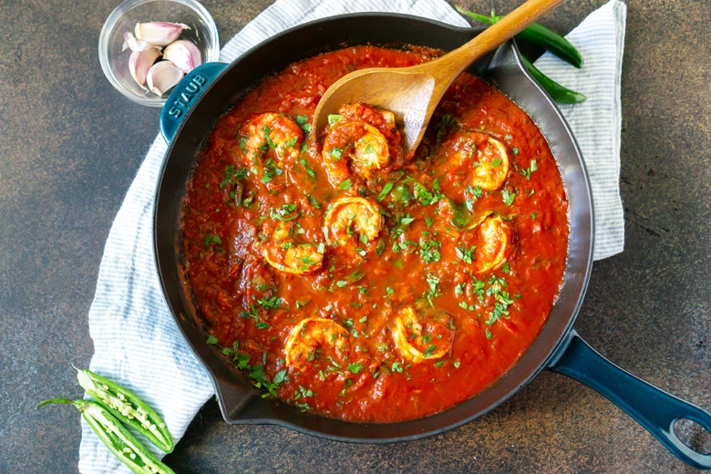 zesty homemade marinara sauce with shrimp