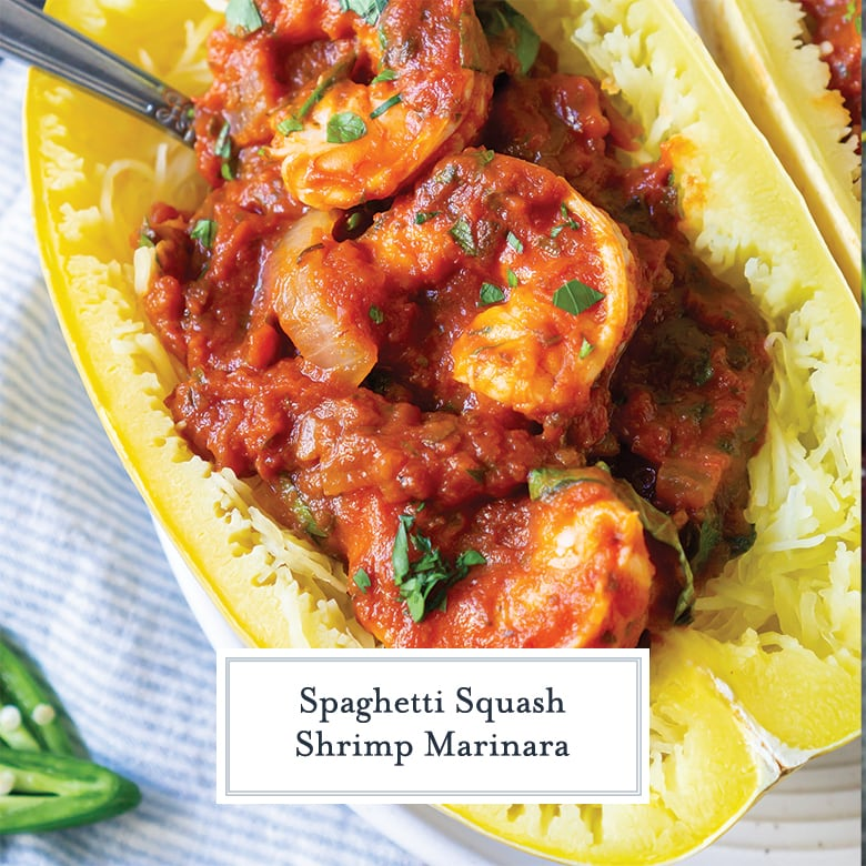 overhead close up of large shrimp in marinara sauce in a spaghetti squash