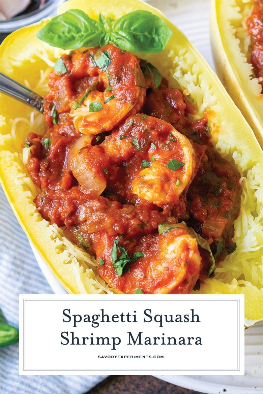 close up of spaghetti squash marinara for pinterest