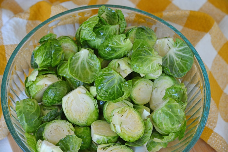 bowl of cut brussel sprouts