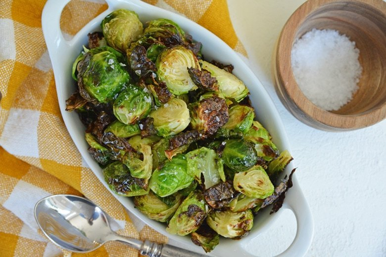 crispy sprouts in a serving dish