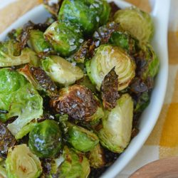 close up of air fryer brussels sprouts