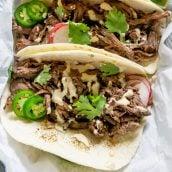 close up of barbacoa tacos