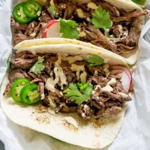 close up of barbacoa tacos