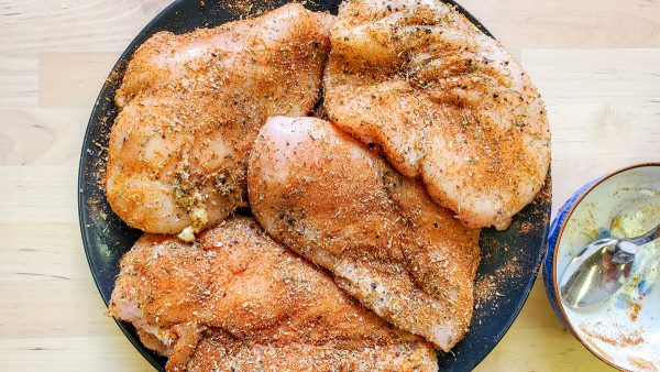 dredged and seasoned chicken