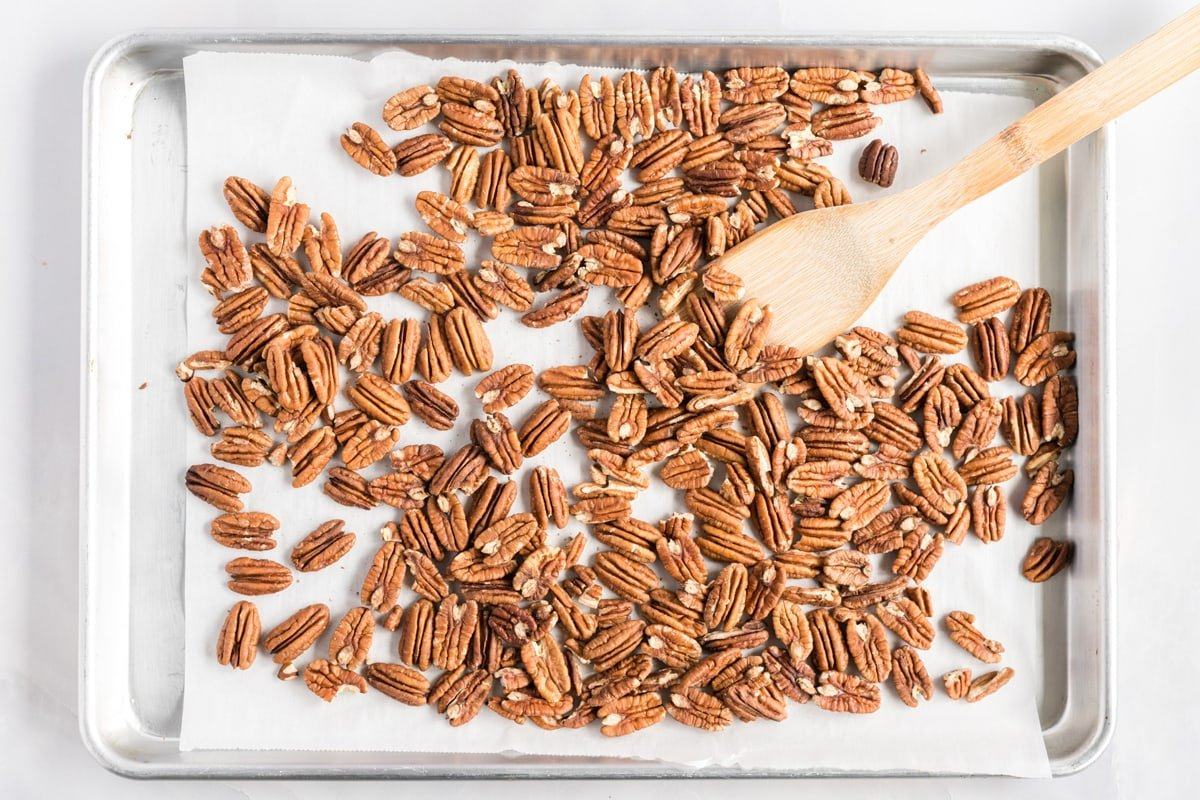 baking sheet with toasted pecans
