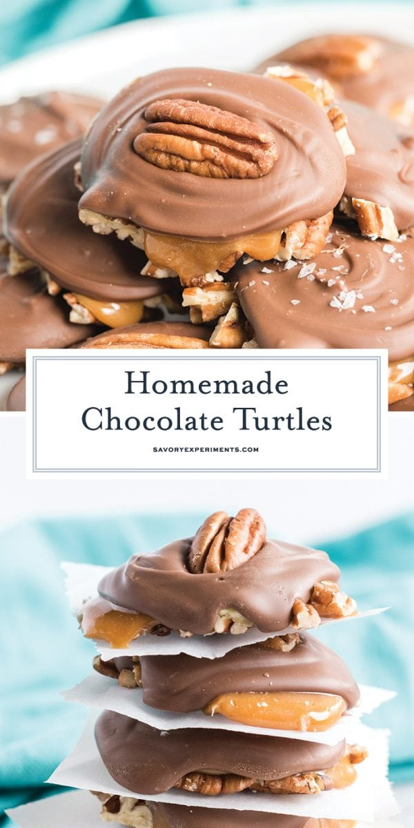 chocolate turtle candy long pin for pinterest