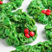 close up of christmas wreath cookies