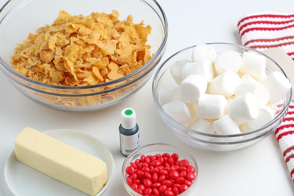 ingredients for cornflake wreath cookies