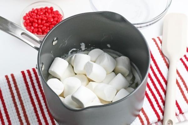 marshmallows in a saucepan