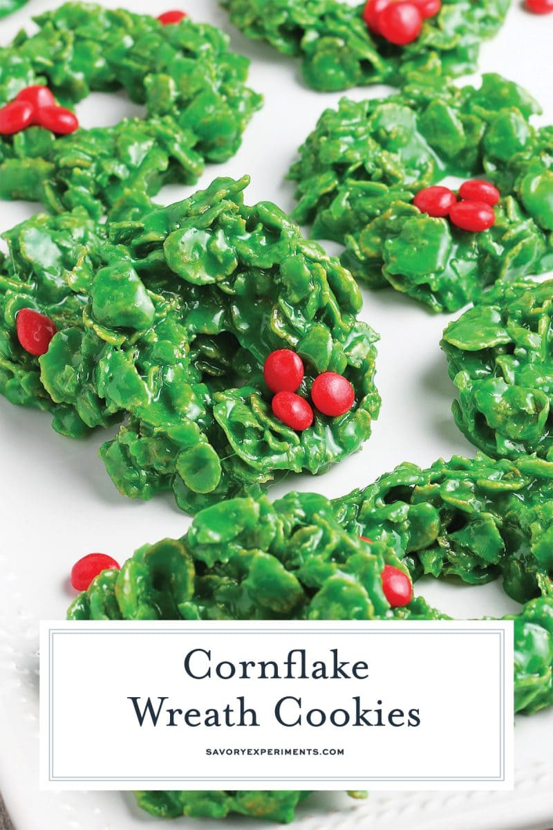 cluster of christmas wreath cookies for pinterest