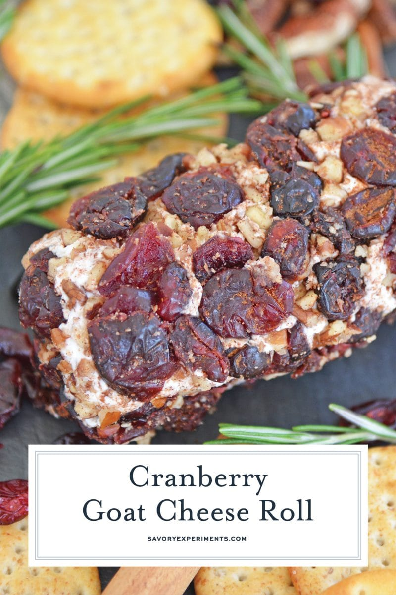 close up of cranberry cheese log