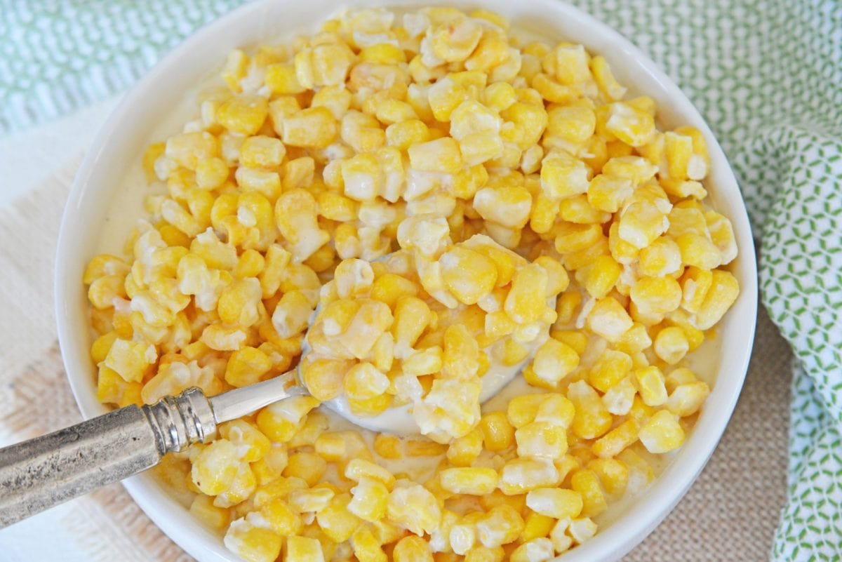 spooning out creamed corn