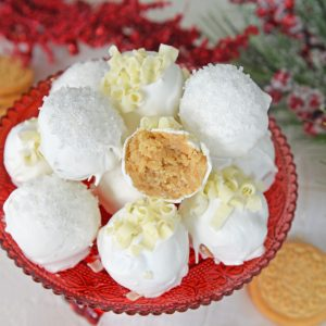 platter of eggnog oreo cookie balls