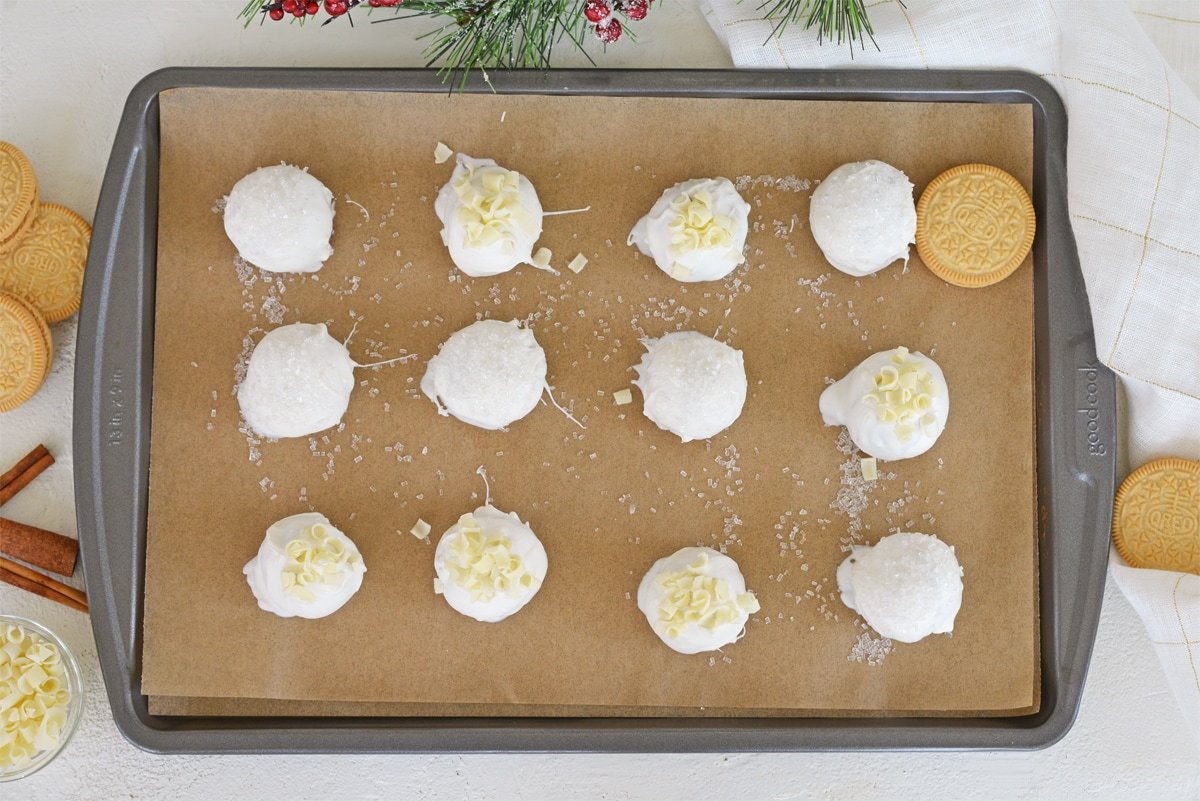 OREO cookie calls on a parchment lined baking sheet