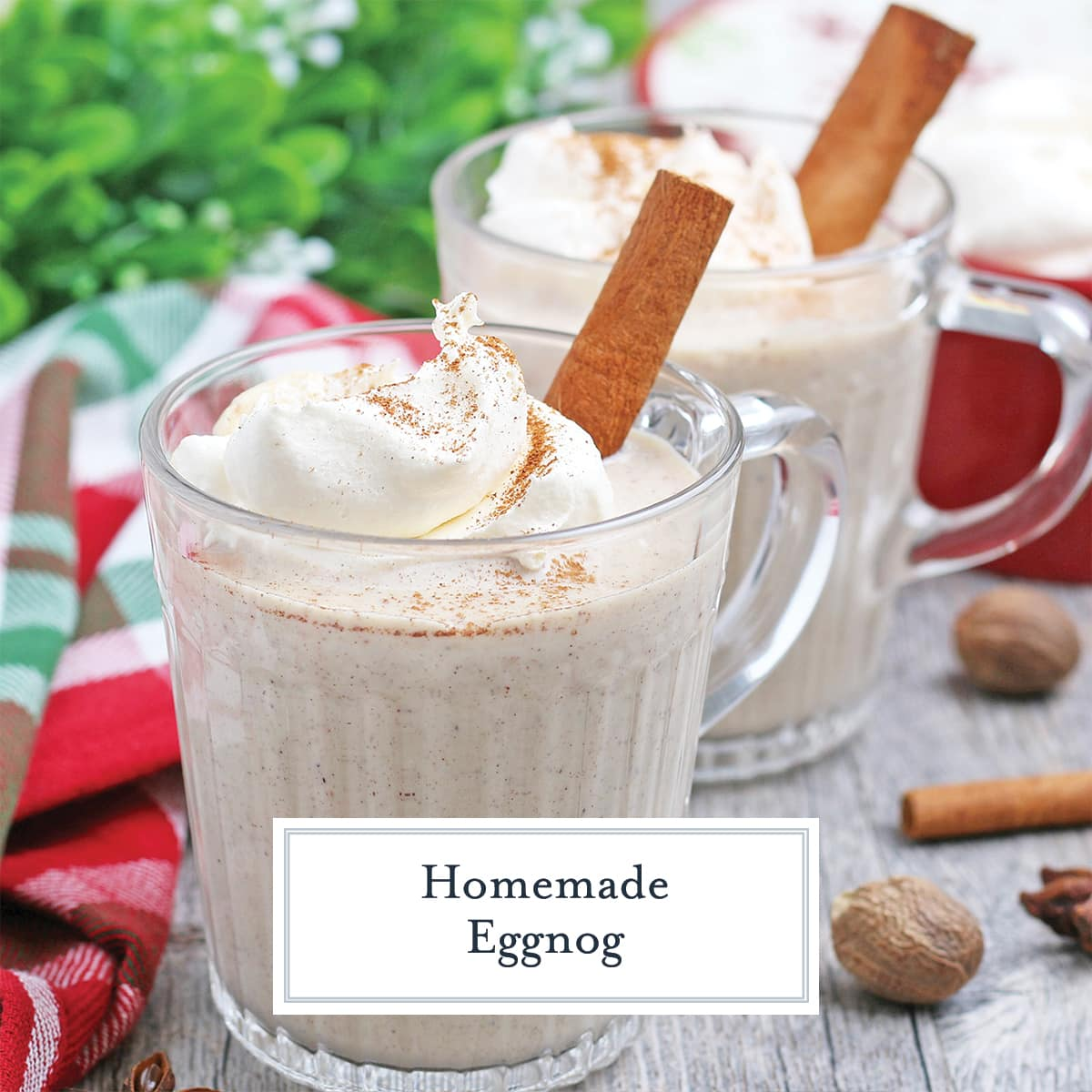 angle of homemade eggnog with ground cinnamon and cinnamon stick