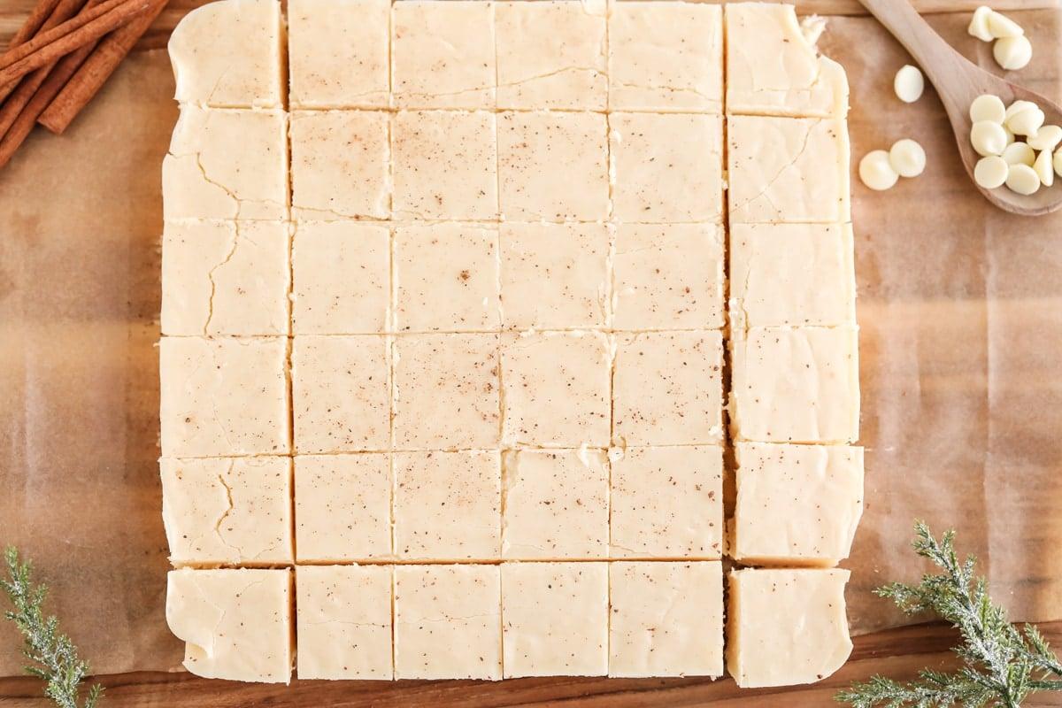 square of cut fudge