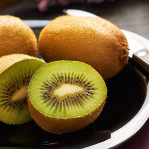 close up of cut kiwifruit
