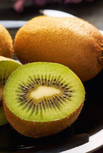 close up of cut kiwifruit