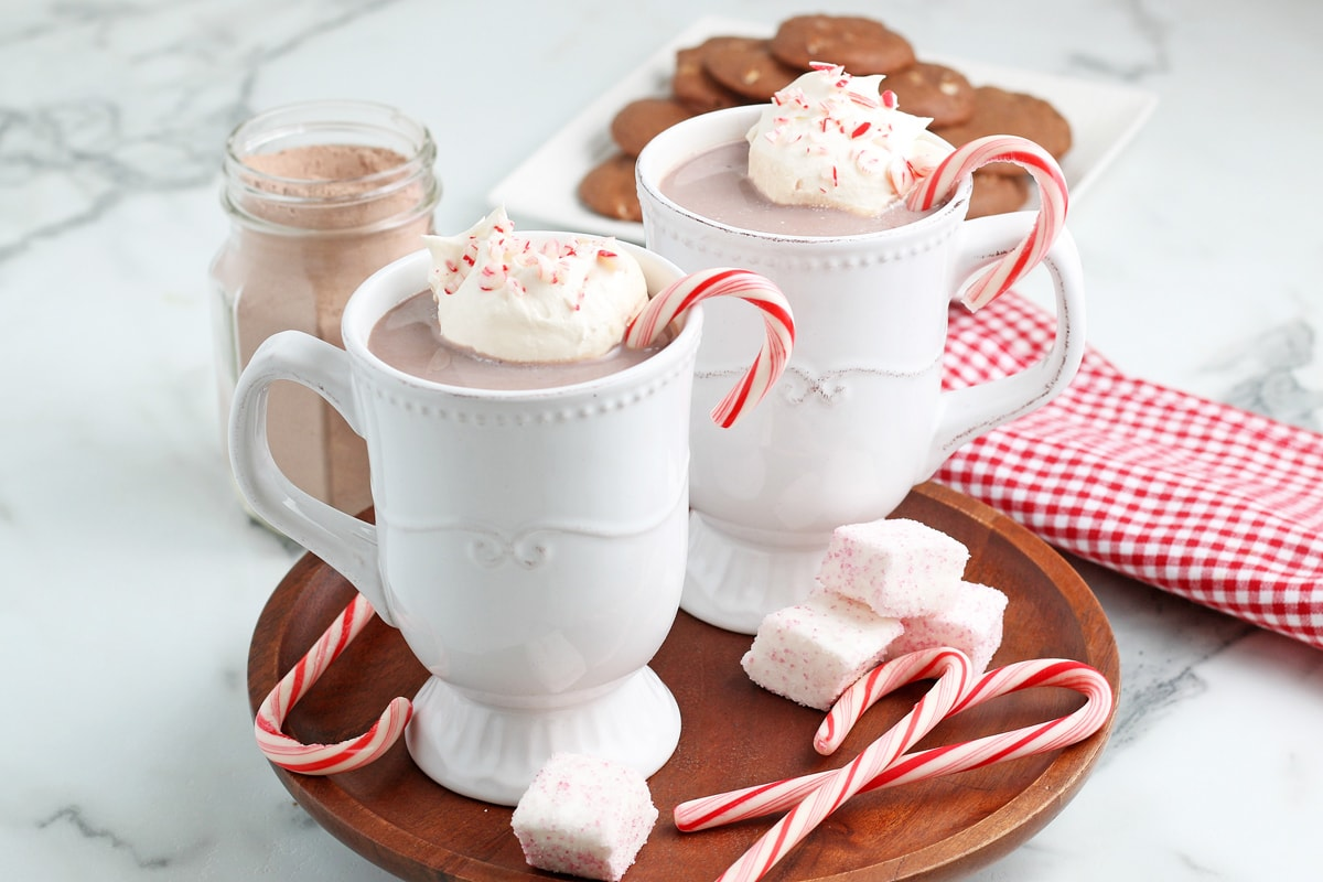 homemade hot chocolate on a platter