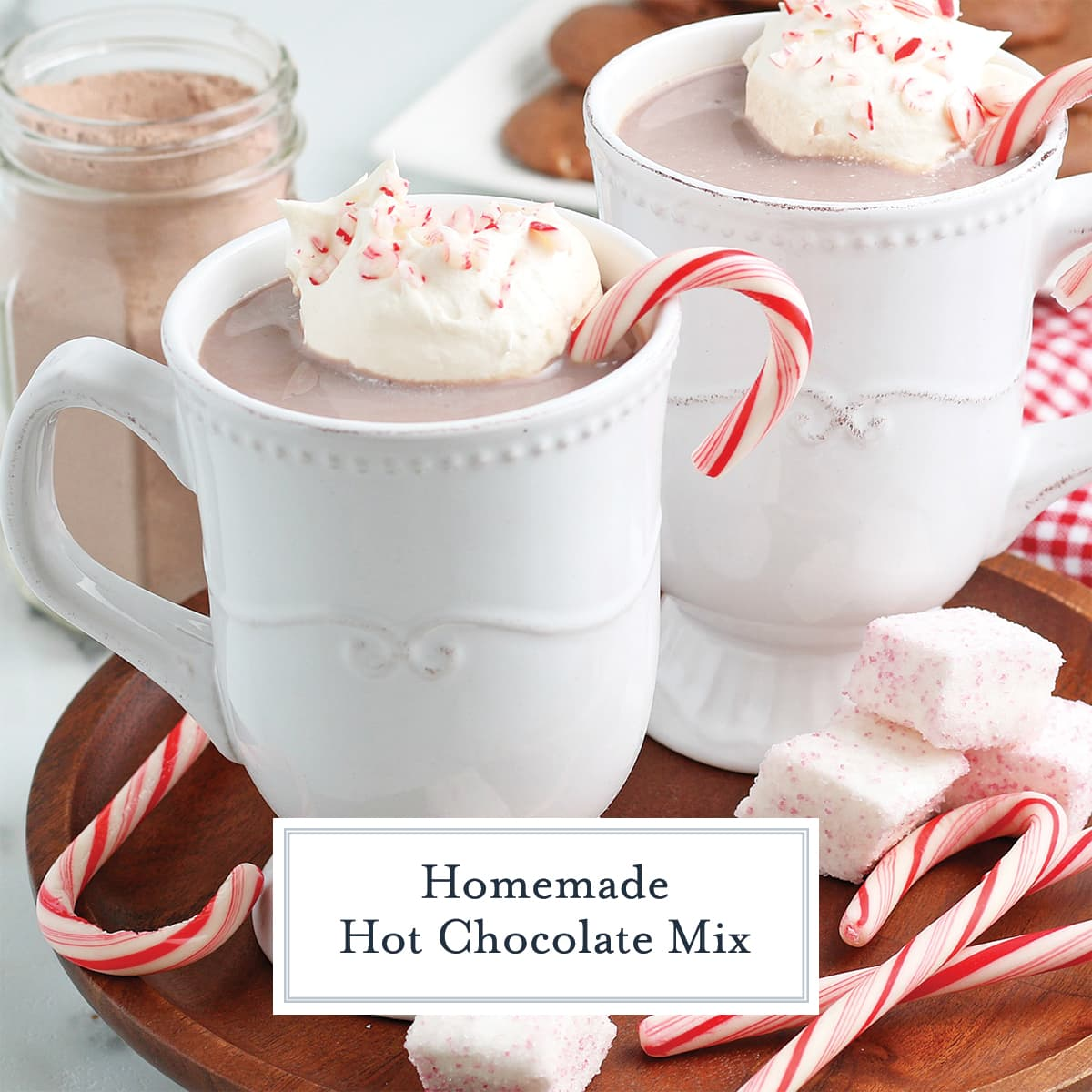 side view of homemade hot chocolate with whipped cream and peppermint