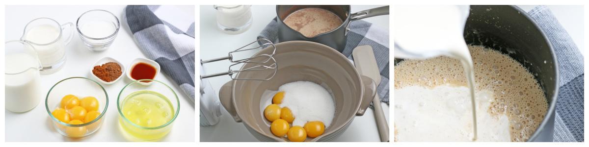 process shots of how to make eggnog