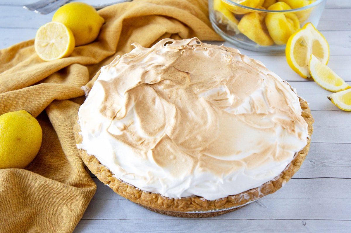 angle of cooked lemon pie