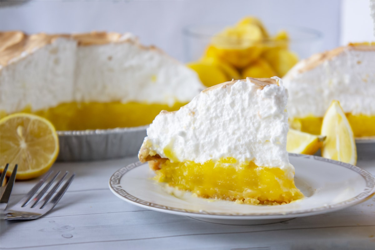 slice of lemon pie with meringue topping
