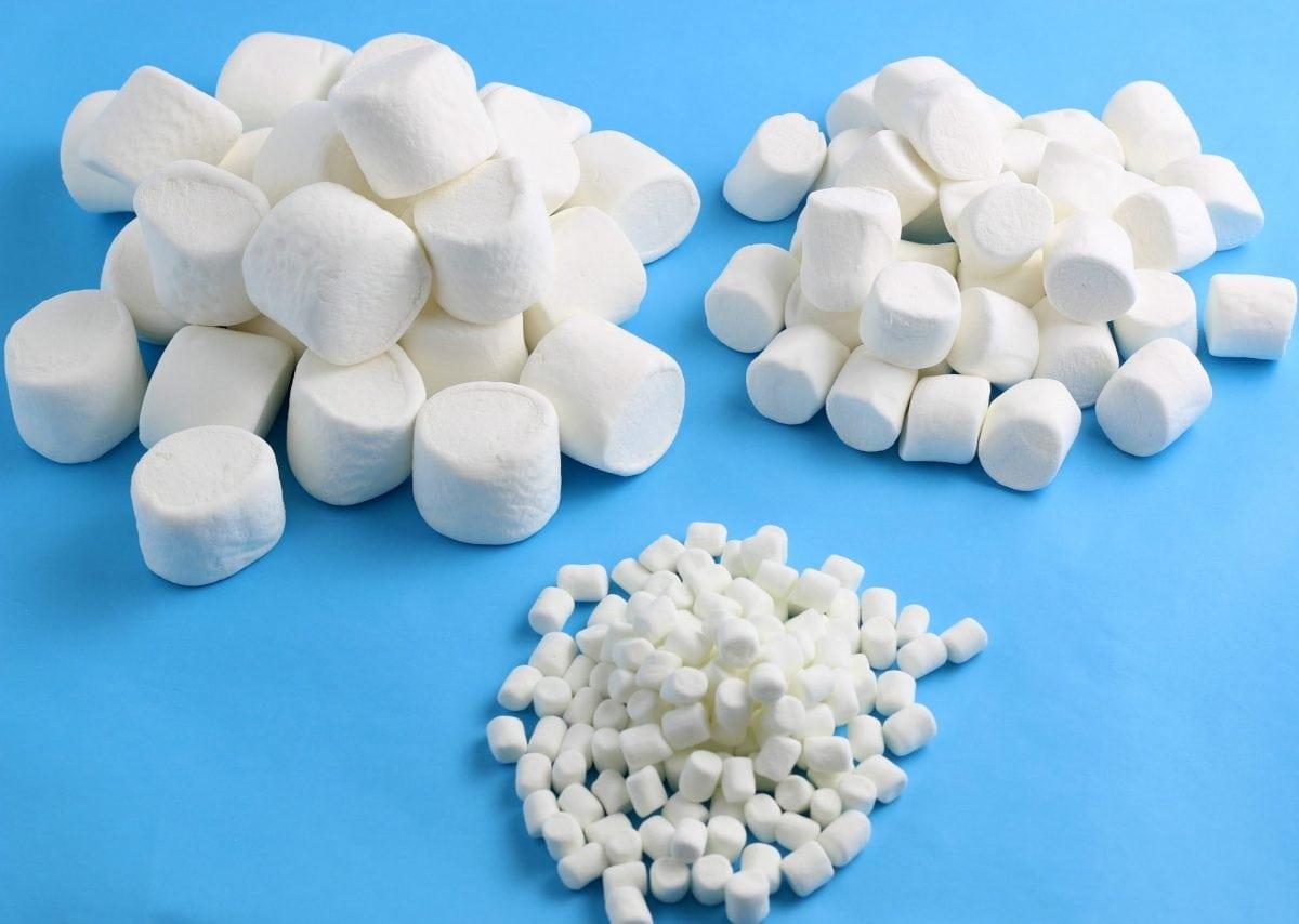 Mini, regular and jumbo marshmallows on blue background