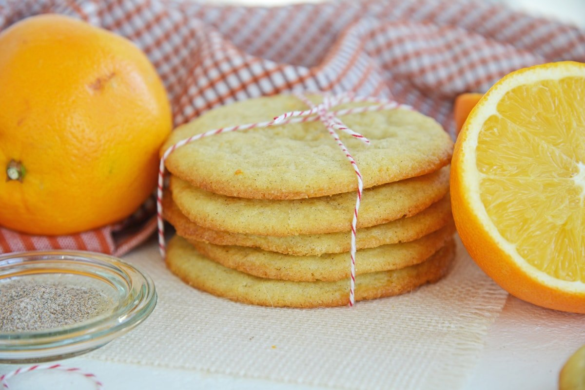 angle view of stack of orange cookies