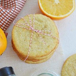 overhead stack of orange cardamom cookies