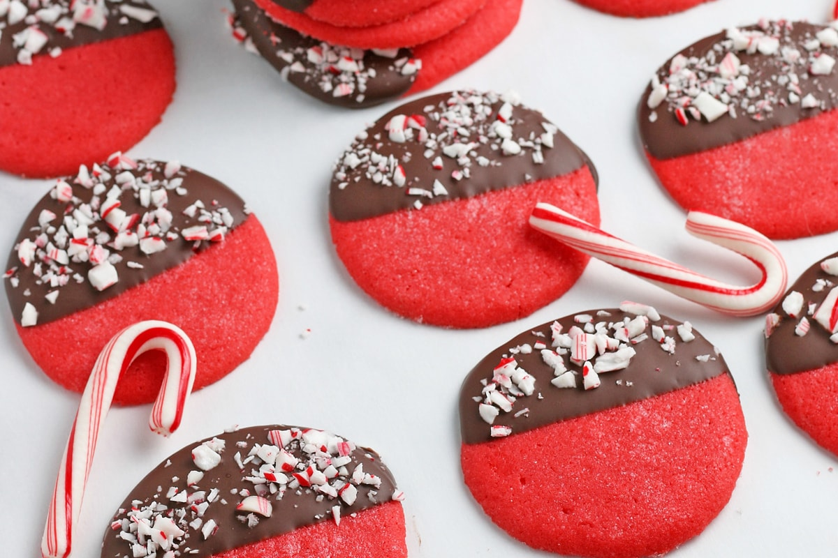 red sugar cookies with peppermint