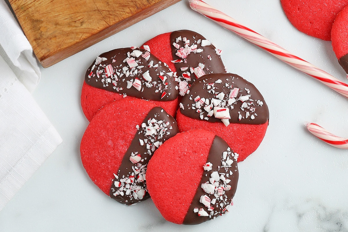 peppermint sugar cookies in a pile