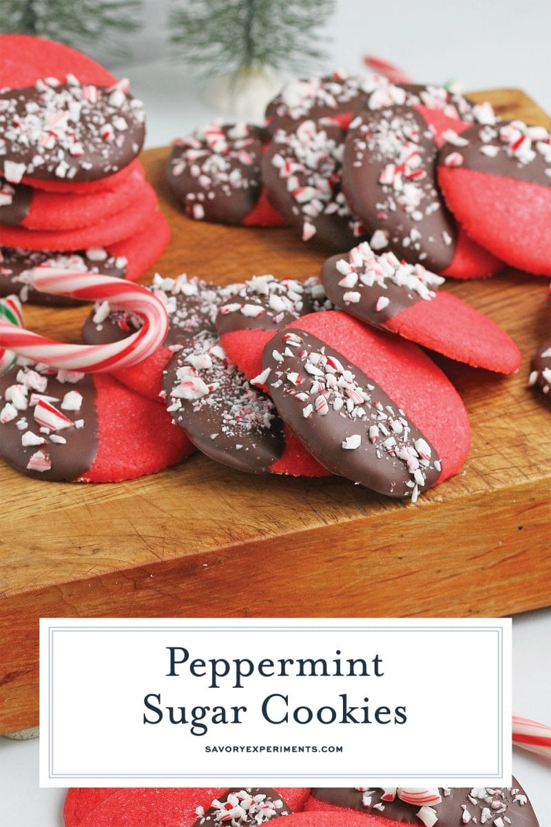 close up of chocolate peppermint sugar cookies for pinterest