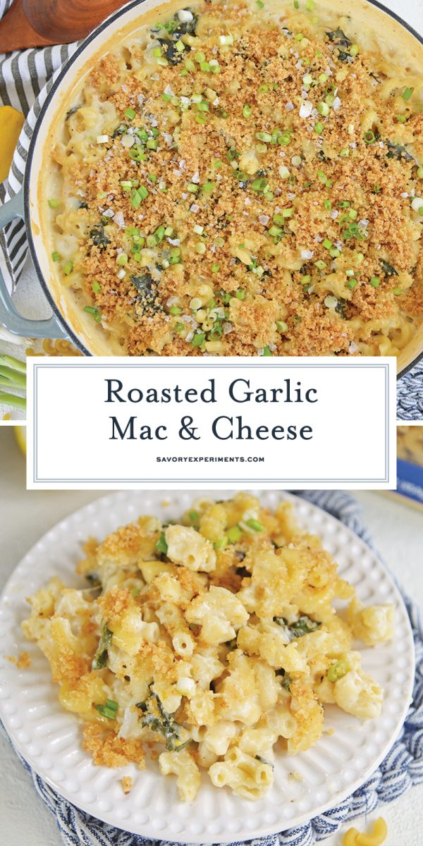 roast garlic mac and cheese for pinterest