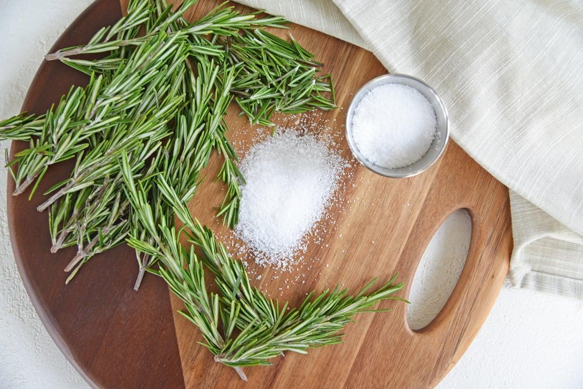 coarse salt and fresh rosemary