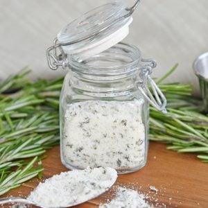 close up of a jar of rosemary salt