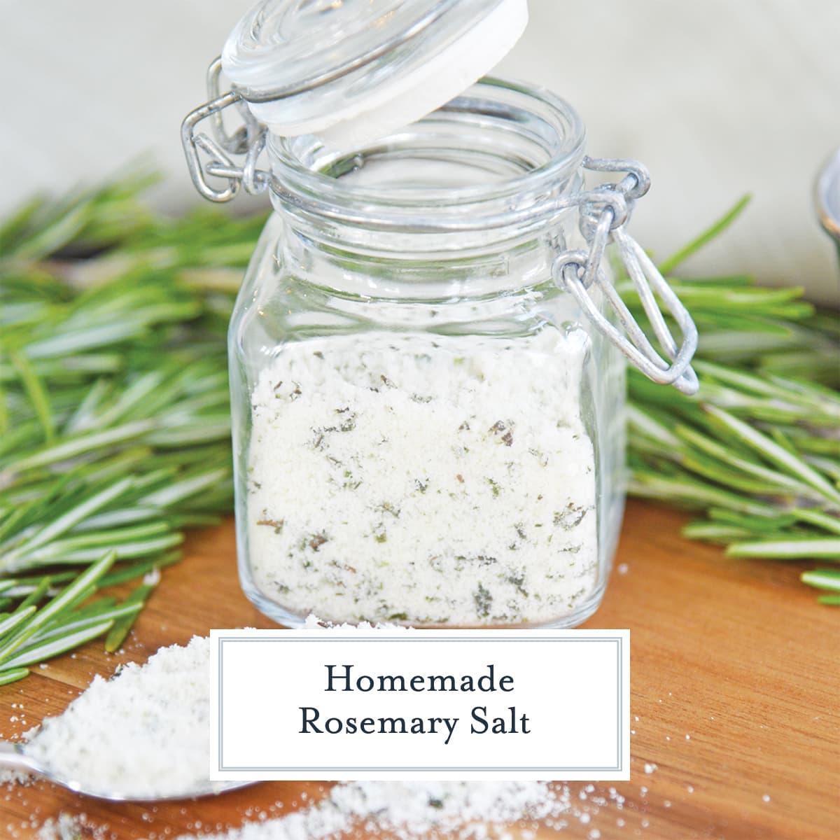 glass jar of seasoned salt and fresh rosemary
