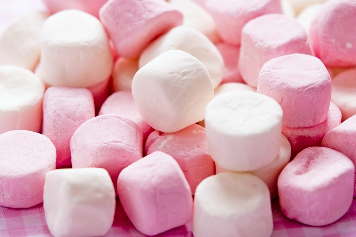 pile of pink and white marshmallows