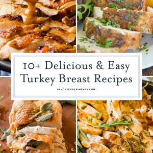 collage of turkey breast recipes