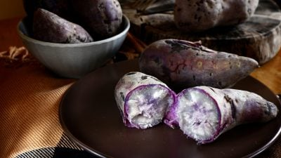 whole cooked ube cut in half