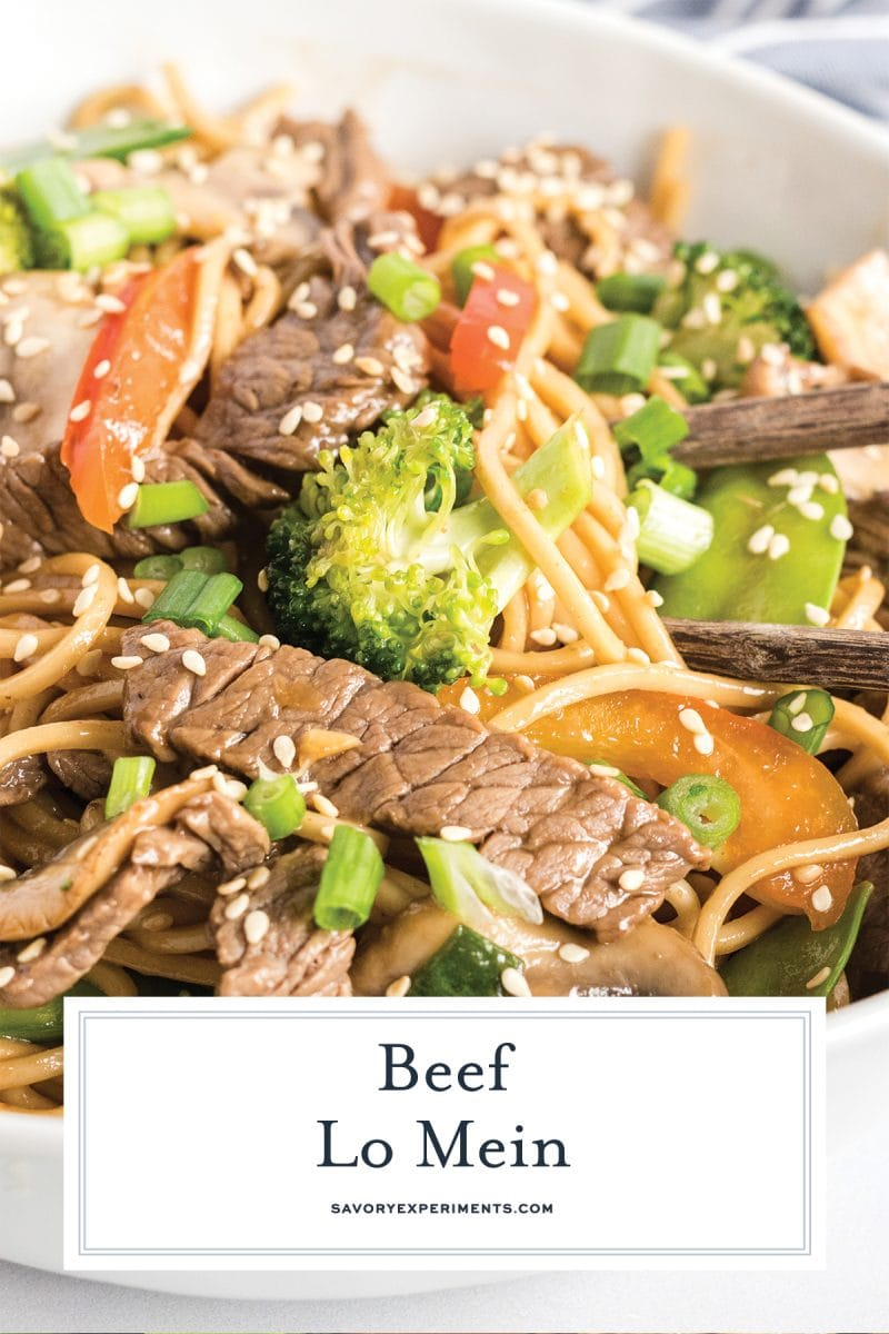 close up of beef lo mein